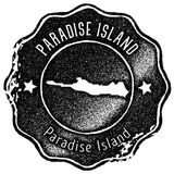 Paradise Island map vintage stamp. Retro style handmade label, badge or element for travel souvenirs. Black rubber stamp with island map silhouette. Vector Royalty Free Stock Images