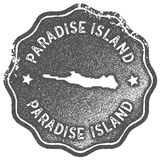 Paradise Island map vintage stamp. Retro style handmade label, badge or element for travel souvenirs. Grey rubber stamp with island map silhouette. Vector Royalty Free Stock Image