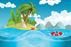 A paradise island in the middle of the sea. Vector illustration Royalty Free Stock Photo
