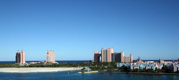 Paradise Island in Nassau Bahamas. Atlantis Resort and Casino on Paradise Island in Nassau, Bahamas. Colorful homes and shops also decorate the island stock photo