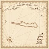 Paradise Island old treasure map. Sepia engraved template of pirate island parchment. Stylized manuscript on vintage paper Royalty Free Stock Images