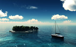 Paradise Island. Over a blue sky with yacht. 3D illustration Royalty Free Stock Photography