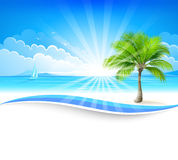 Paradise island. With palm trees and boats. Vector background Stock Images