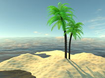 Paradise island with palm trees and sand Royalty Free Stock Photography