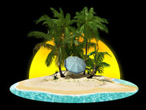 Paradise island with palms Royalty Free Stock Photography