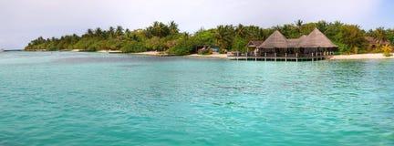 Paradise island panoramic. Paradise of Maldives - tropical island Hudhuranfushi Royalty Free Stock Image