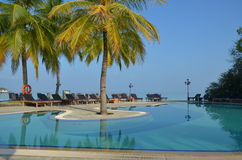 Paradise Island Pool - The Maldives Royalty Free Stock Photo