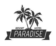 Paradise island resort hotel logo. Tropical illustration and vector summer island Royalty Free Stock Photo
