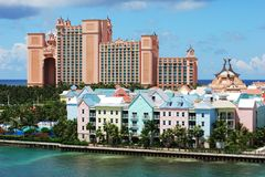 Paradise Island Resorts. Colourful hotels and resorts on Paradise Island, The Bahamas Stock Photography