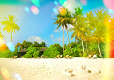 Paradise island sand beach. Blue sky with light leaks and lens f Royalty Free Stock Photo
