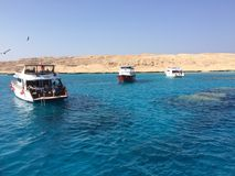 Paradise Island. Sea coral paradise island yacht fish Hurghada Royalty Free Stock Images
