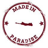 Paradise Island seal. Vintage island map sticker. Grunge rubber stamp with Made in text and map outline, vector illustration Royalty Free Stock Image