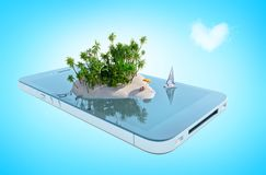 Paradise island in the shape of heart on phone screen. Paradise island in the shape of heart with palm trees, desk chairs and yacht on phone screen. 3D Stock Image