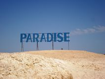 Paradise Island. Sign island in Egypt during the tour Stock Photography