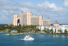 Paradise Island Skyline. The yacht passing by Paradise Island, popular resort place in The Bahamas Royalty Free Stock Image