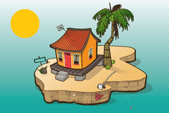 Paradise Island with Small House and Palm Tree Stock Images