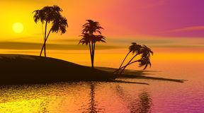 Paradise island by sunset Royalty Free Stock Image