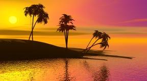 Paradise island by sunset Royalty Free Stock Image