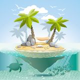 Paradise island. To stay somewhere in the spacious ocean Stock Photo