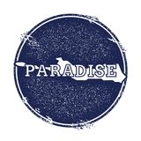 Paradise Island vector map. Grunge rubber stamp with the name and map of island, vector illustration. Can be used as insignia, logotype, label, sticker or Royalty Free Stock Images