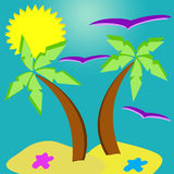 Paradise island. Very high quality hand drawing illustration. On this picture you can beautiful paradise island with some elements like palms, birds and sun Royalty Free Stock Photo