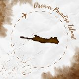Paradise Island watercolor island map in sepia. Paradise Island watercolor island map in sepia colors. Discover Paradise Island poster with airplane trace and Stock Images