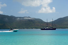 Paradise islands. Boat on Seychelles islands at the Indian ocean Royalty Free Stock Photography