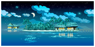 Paradise islands at night Royalty Free Stock Image