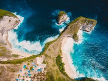 Paradise Kelingking beach on Nusa Penida Island. Aerial view royalty free stock photo
