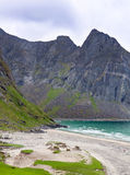 Paradise Kvalvika beach on Lofoten islands in Norway Stock Image