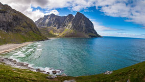 Paradise Kvalvika beach on Lofoten islands in Norway Royalty Free Stock Image