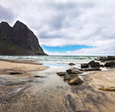 Paradise Kvalvika beach on Lofoten islands in Stock Images