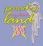 Paradise land. And poultry-themed T-shirt graphic design digit summer stock illustration