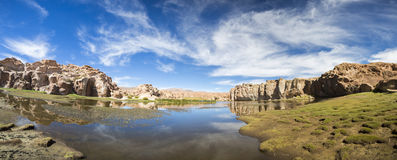 Paradise landscape, lake and strange rock formations, Bolivia Royalty Free Stock Photos