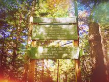 Paradise lane trail and undermountain trail sign. In the woods in Connecticut United States Royalty Free Stock Images