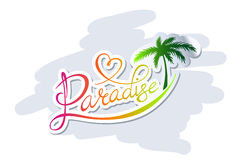 Paradise logo. Handwritten calligraphic Paradise logo with palm silhouette royalty free illustration