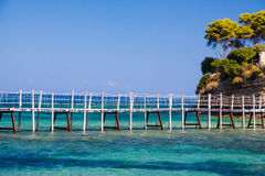 Paradise micro island bridge Royalty Free Stock Photos