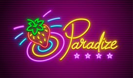 Paradise neon sign with strawberry for nighttime. Paradise neon signboard with strawberry. Neon sign with illumination for nighttime club restaurant or hotel vector illustration
