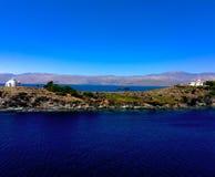 Paradise or not. Greek frigate near Turkey Stock Photos