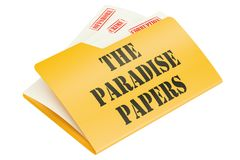 The Paradise Papers, leak of data concept. 3D rendering. Isolated on white background Stock Photography