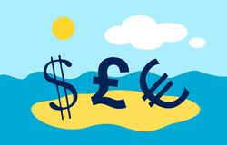 Paradise papers. US dollar, British Pound and Euro are on beach as metaphor of Paradise papers affair and leak. Deception with offshore companies and finances Stock Photos