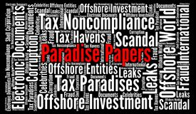Paradise papers word cloud. Illustration Royalty Free Stock Photo