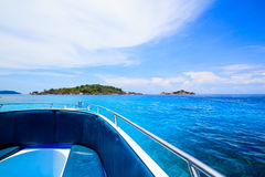 A paradise with perfect crystal clear sea on a speed boat Stock Photography