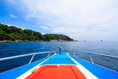 A paradise with perfect crystal clear sea on a speed boat Royalty Free Stock Images