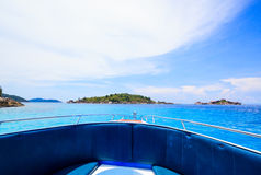 A paradise with perfect crystal clear sea on a speed boat Stock Images