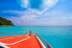 A paradise with perfect crystal clear sea on a speed boat Royalty Free Stock Photos