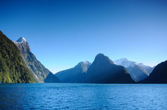 Paradise places in New Zealand / Lake Teanua / Milford Sound. Milford Sound / Piopiotahi is a fiord in the south  of  Zealand`s South Island, within Fiordland Stock Photo