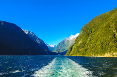Paradise places in New Zealand / Lake Teanua / Milford Sound. Milford Sound / Piopiotahi is a fiord in the south west of New Zealand`s South Island, within Stock Image