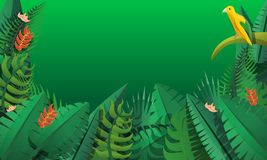 Paradise rainforest concept banner, cartoon style stock illustration