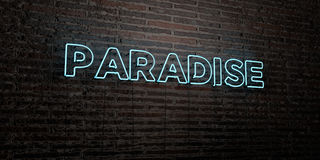 PARADISE -Realistic Neon Sign on Brick Wall background - 3D rendered royalty free stock image. Can be used for online banner ads and direct mailers Stock Illustration
